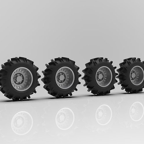 "1:64 26"" Notch Mega Truck wheels on 49"" tractor tires"