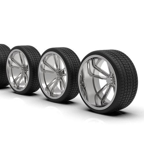 "1:24 ""Flight"" 26 inch wheels on rubber low-profile tires"