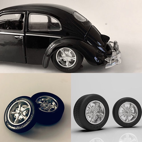 1:43 Five Spoke Dub Wheels with Tires