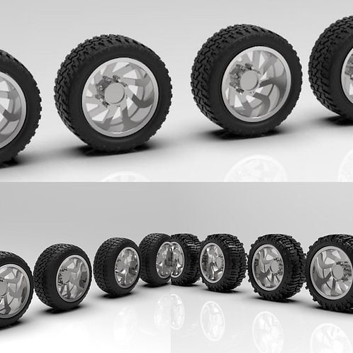 "1:25 Forged ""Cyclone"" Wheels With Tire Choice of Boggers, Standard and Stretched"