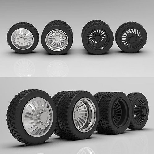 """1:18 """"Rocket"""" Forged Dually Wheels with Standard Tires"""