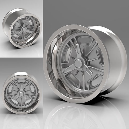 """1:18 Set of Two front """"Halibrand"""" Wheels Muscle Machine Cars"""