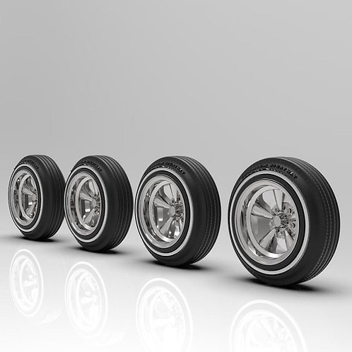 """1:25 Supremes 14"""" Wheels with White Wall Tires"""
