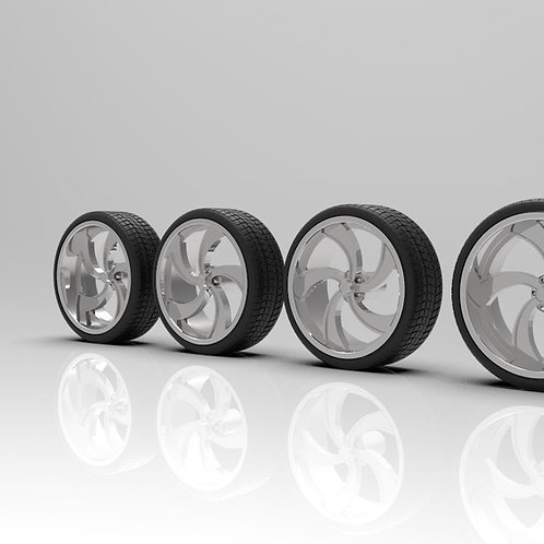 """1:64 Intro""""Outlaw"""" 24, 26 and 28's Wheels with Tires"""