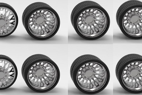 "1:64 ""Evo"" 26inch semi truck wheels and tires (2 fronts 4 rears)"