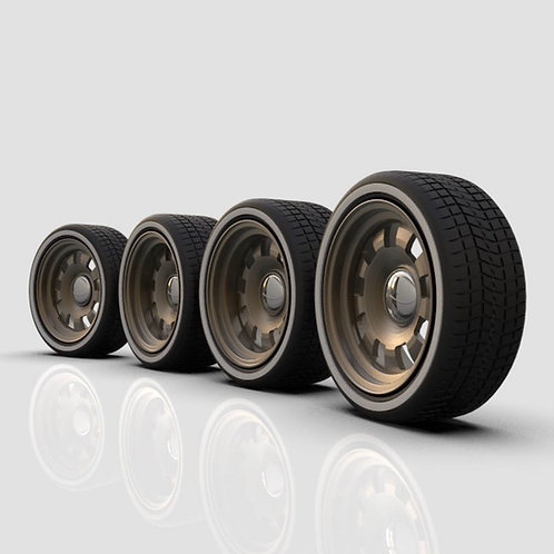 1:18 Square Slotted Wheel with Tires