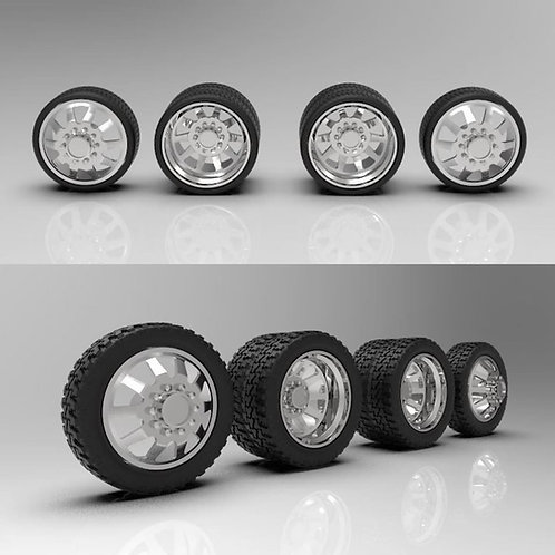 "1:18 ""Razor"" Dually wheel and tire setup.  Optional low profile and standard for"