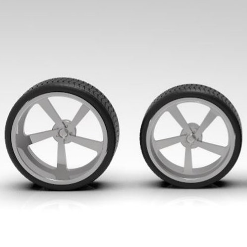 "1:24 26"" Intro ""Aluminum Twist"" wheel set with low profile tires"