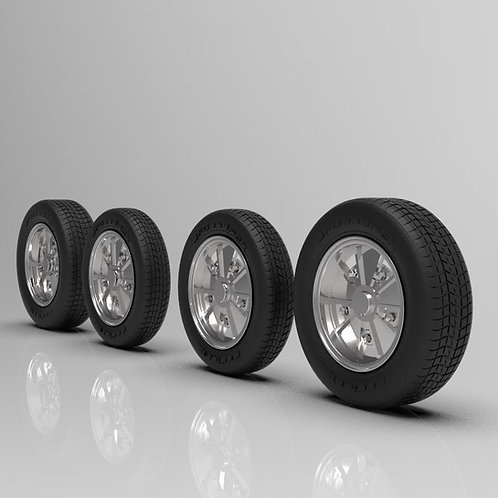 1:25 BRM Wheels 4.5 x 5.5 wheel and tire set