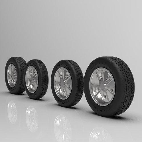 1:25 BRM Wheels 4.5 x 5.5 wheel and tire set