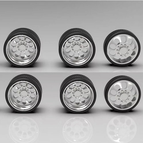 """1:64 26"""" Semi Truck Crater Dually Wheels On Low Profile Tires (2 Fronts 4Rears)"""