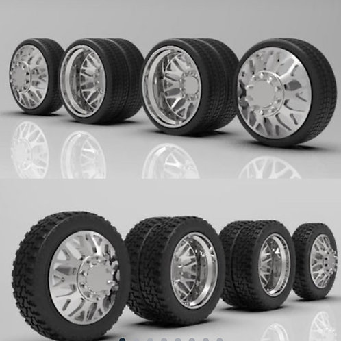 """1:24 """"Nitro"""" Dually Wheel and Tire setup with Low Profile or Standard Tires"""