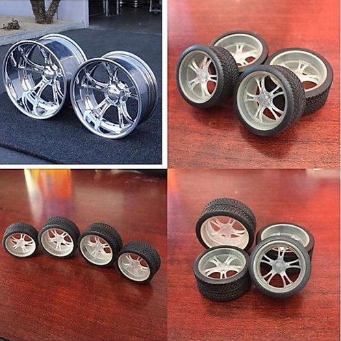 """1:12  """"Schott"""" 19"""" And 21""""Wheel And Tire Setup"""