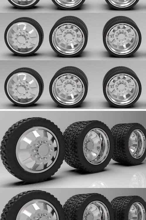 """1:64 26 inch """"Razor"""" Semi Truck Dually wheels and tires (2 fronts 4 rears)"""