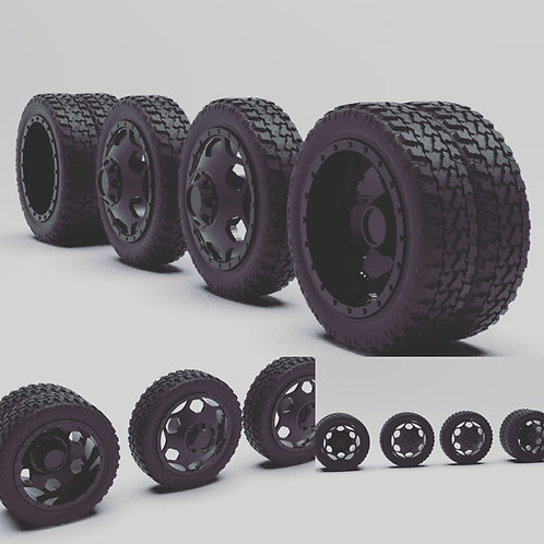 "1:24 Brigade 22"" dually setup with Terrain tires (Black)"