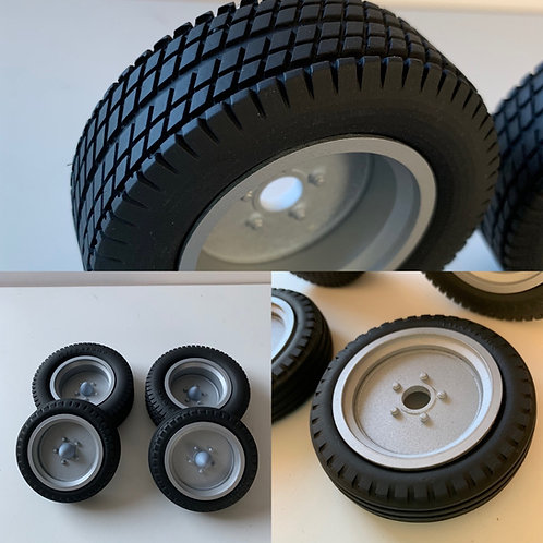 1:8 Flat Steel Style Wheels and Dirt Track Tires. Bullet cap