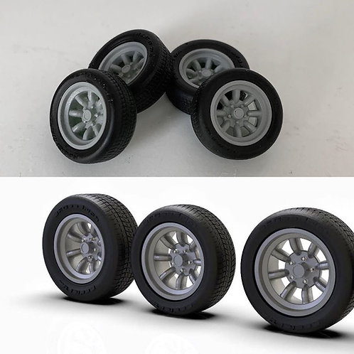 """1:32 15"""" minilite mag style wheels with big and little tires"""