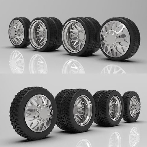 "1:16 ""Nitro"" Duallys with Standard and Lowprofile tires"
