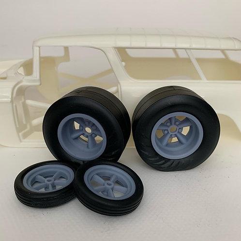 1:16 Five Spoke Drag Racing Wheel Wrinkle Tire Setup