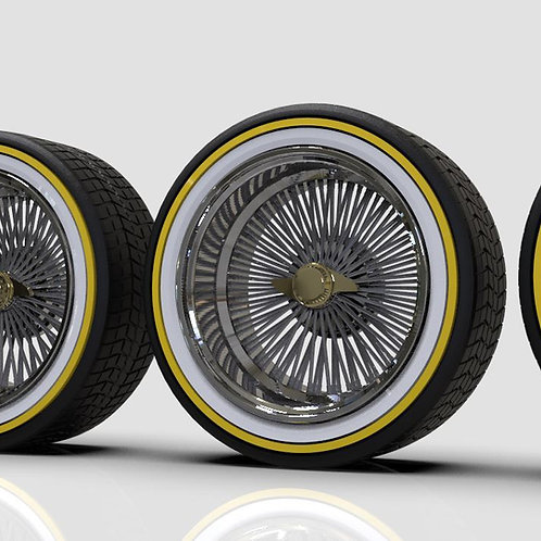 "1:24 ""Deep Dish Wire Wheels on Low-Pro Vogues"