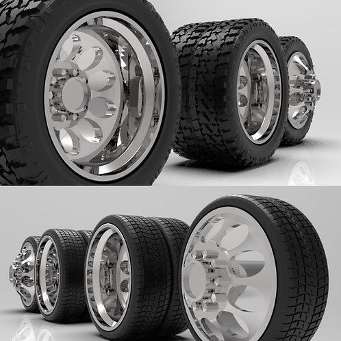 "1:16 ""Crater"" Dually wheels with Standard or Low-Profile Tires"