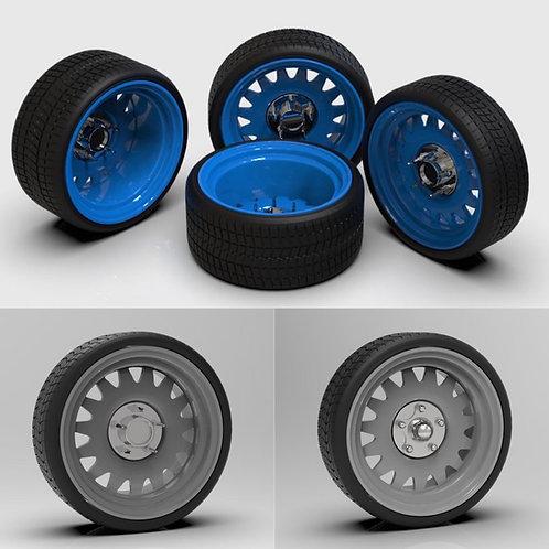"1:25 26"" Artilley Detroit wheel and tires  10x14"