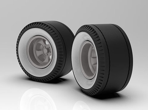 1:16 Set of Rear Deep Halibrand  Sprint wheel with whitewall cheater slicks