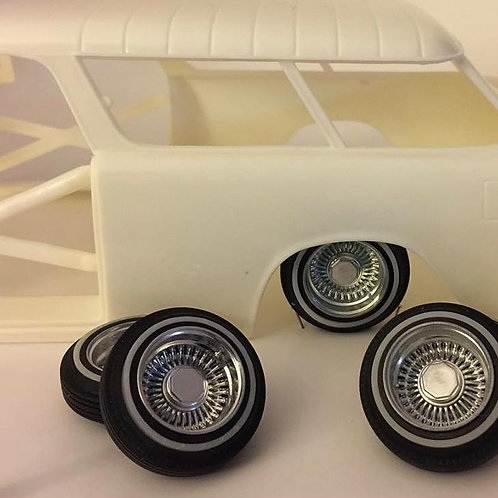 """1:16 True Ray 13"""" chromed wheels with tires"""