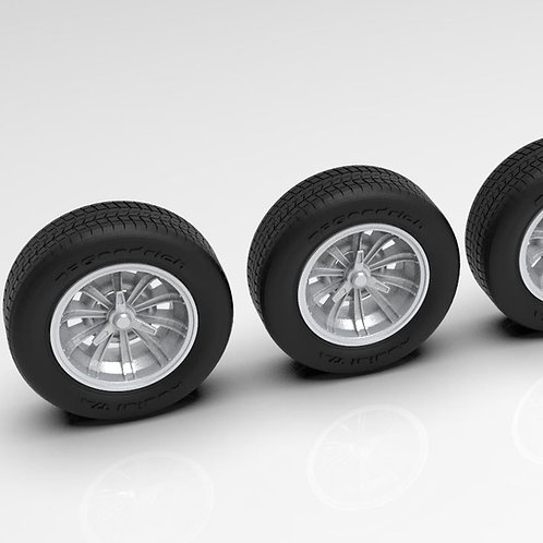 1:16 Cobra Sunburst wheels with tires