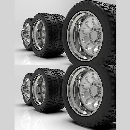 """1:64 """"Crater"""" Wheels with Standard Tires set up for Semi Truck"""