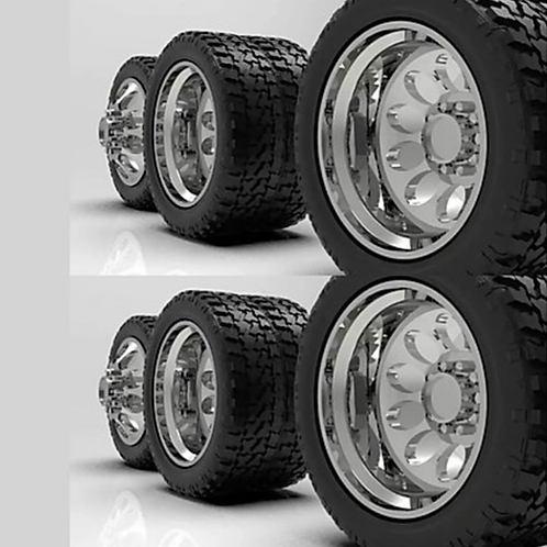 """1:32 """"Crater"""" Chromed Duallys for Semi Trucks with tires (2 fronts and 4 rears"""