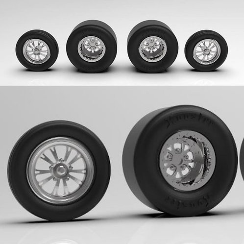 "1:18 Weld ""Vector"" Drag Racing wheels with tires"