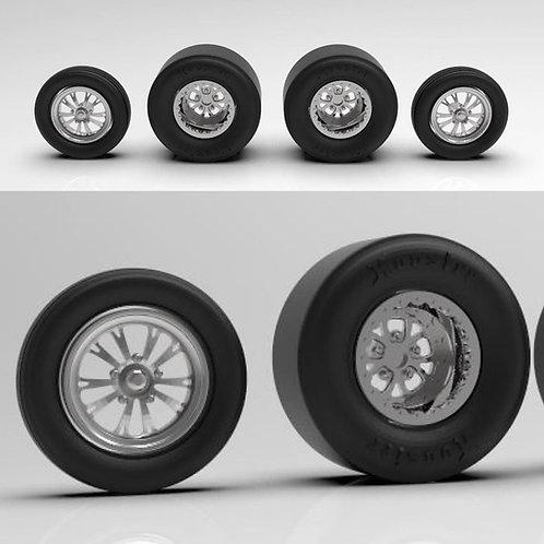 "1:64 Weld ""Vector"" Drag Racing wheels with tires"