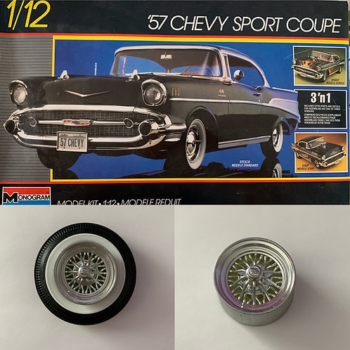1:12 4 Star Wire Wheels For '57 Chevy Sport Coupe Kit Tires (Tires Not Included)