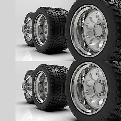 "1:24  ""Crater"" Wheels with Standard Tires set up for Semi Truck"
