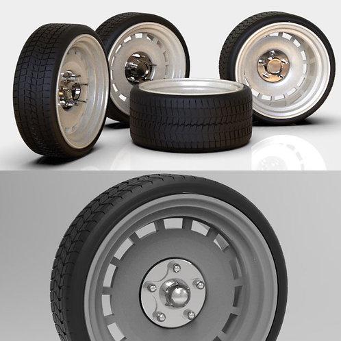 "1:25 26"" Slot Detroit wheel and tires  10x14"