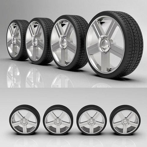 """1:64 26"""" Texas Edition Silverado wheels and tires"""