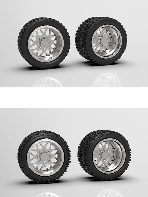 """1:64 """"Shred"""" Forged dually wheels with Bogger or Standard tires"""