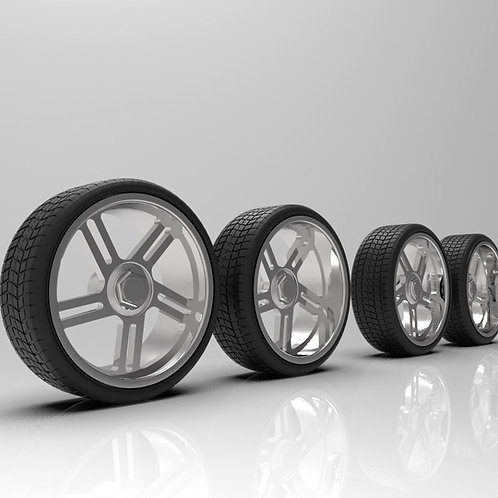 """1:64 24"""" """"Freedom"""" wheels with tires"""