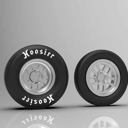 """1:64""""Dart"""" Front and Rear Dragster Wheels and Tires"""