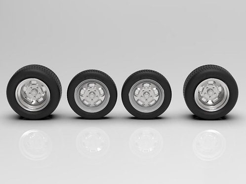 """1:25 Staggered TorqueLite 15"""" wheels and tires"""