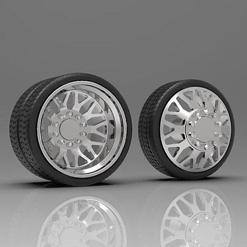 "1:25 ""Nitro"" Dually wheel and tire setup"