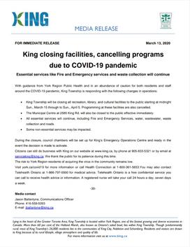 King Township Shut Down Due to COVID19