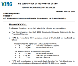2019 Audited Consolidated Financial Statements for the Township of King