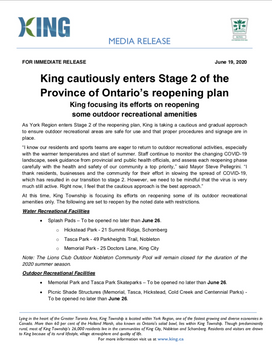 King Township Enters Stage 2 of Province of Ontario's Reopening Plan