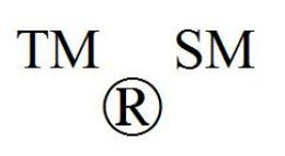 trademark, service mark, registered trademark symbols
