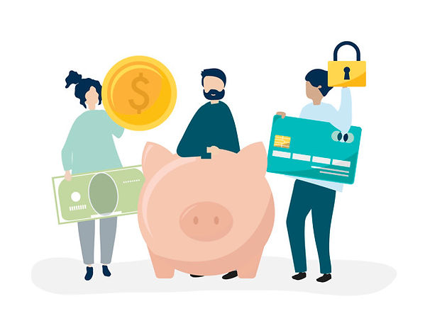 people-holding-savings-security-icons-il
