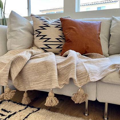 Tan/Cream Pom-Pom Blanket