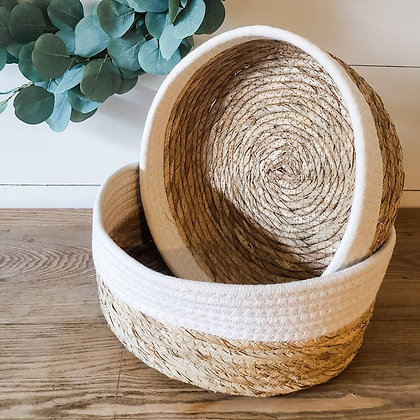 Natural Seagrass Baskets | Set of 2