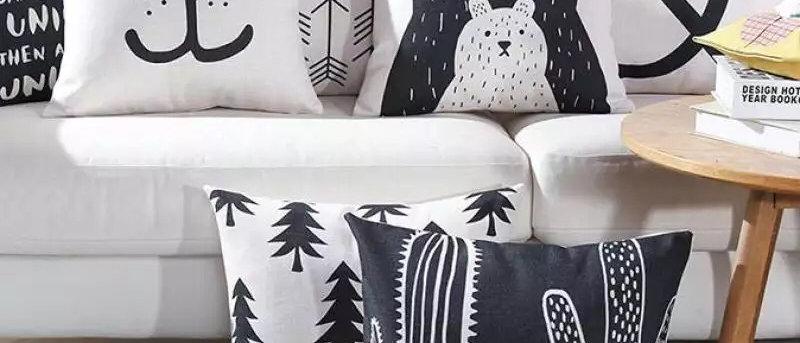 Black & White Cute Bear Cushion Covers/ Pillowcases